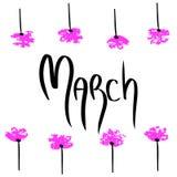 marsch Semestra illustrationen med svart ord på vit bakgrund Kalligrafivårstil med den rosa blommaramen vektor illustrationer
