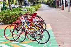 19 marsch, 2019 - Singapore: Parkering för cyklar i mitten av Singapore på gatan royaltyfria foton