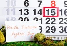 Marschera dagen för 15 världskonsumenträtter på kalender Royaltyfria Bilder