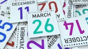 Marschera datum 26 på den betonade kalendersidan, tolkningen 3D royaltyfri illustrationer