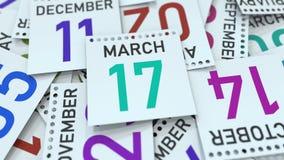 Marschera datum 17 på den betonade kalendersidan, tolkningen 3D vektor illustrationer