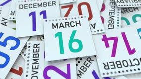 Marschera datum 16 på den betonade kalendersidan, tolkningen 3D royaltyfri illustrationer