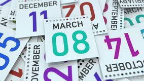 Marschera datum 8 på den betonade kalendersidan, tolkningen 3D stock illustrationer
