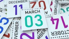 Marschera datum 3 på den betonade kalendersidan, tolkningen 3D royaltyfri illustrationer