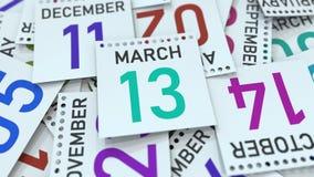 Marschera datum 13 på den betonade kalendersidan, tolkningen 3D royaltyfri illustrationer