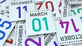 Marschera 1 datum på kalenderbladet bland andra sidor, tolkningen 3D royaltyfri illustrationer