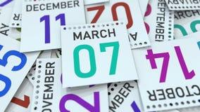 Marschera datum 7 p? kalenderbladet framf?rande 3d vektor illustrationer
