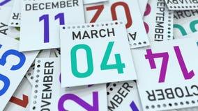Marschera datum 4 p? kalenderbladet framf?rande 3d vektor illustrationer