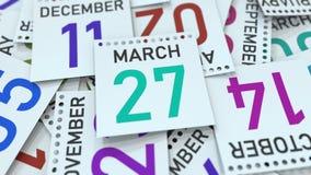 Marschera datum 27 p? kalendersidan framf?rande 3d vektor illustrationer