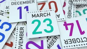 Marschera datum 23 p? kalendersidan framf?rande 3d royaltyfri illustrationer