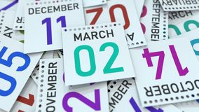 Marschera datum 2 p? kalendersidan framf?rande 3d royaltyfri illustrationer