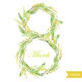 Marschera 8, fjädra, blommor, kortet, symbolet, mimosan, krans, 7 Royaltyfri Foto
