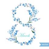 Marschera 8, fjädra, blommor, kortet, symbolet, mimosan, krans, 5 Arkivbild
