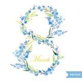 Marschera 8, fjädra, blommor, kortet, symbolet, mimosan, krans, 6 Royaltyfri Fotografi