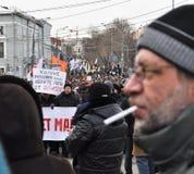 Marschera i Moskva 02.02.2014 i service av politiska fångar. Arkivbilder