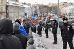 Marschera i Moskva 02.02.2014 i service av politiska fångar. Arkivfoto