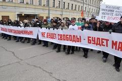Marschera i Moskva 02.02.2014 i service av politiska fångar. Royaltyfria Foton
