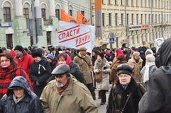 Marschera i Moskva 02.02.2014 i service av politiska fångar. Arkivbild