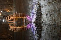 Marschera 3rd Slanic Rumänien, Unirea den salta minen, huvudsakligt underjordiskt galleri royaltyfria bilder