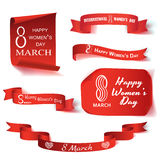 Marscherar den realistiska uppsättningen för vektorillustrationen av papper och bandet på ämnet 8 internationell dag för kvinna`  royaltyfri illustrationer