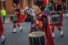 MarschKiltie musikband av York handelsresande Arkivfoto