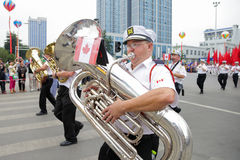 Marschmusikbandet, karneval ståtar 2013, Liuzhou, Kina Arkivbild
