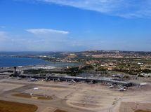 Marseille aiport. From a plane after take off-summer royalty free stock images