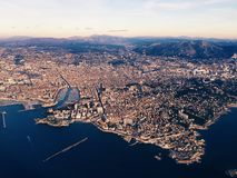 Marseille airplane view. View of Marseille city from a plane Royalty Free Stock Photography