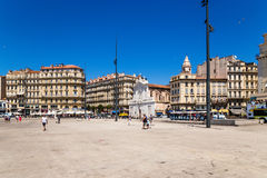 Marseille. Belgian Quay in the Old Port and church of Saint-Ferreol les Augustins Royalty Free Stock Photo
