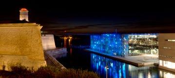 Marseille bij nacht Stock Afbeeldingen