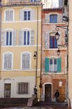 Marseille buildings with colorful windows. Buildings in Marseille France with colorful exteriors and windows with hanging lanterns Stock Photos