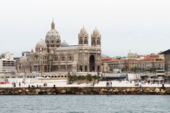 Marseille Cathedral, seen from boat, France Stock Image