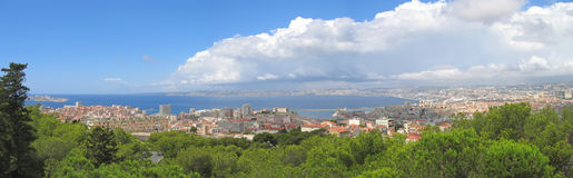 Marseille city. The city and the mediterranean sea - Marseille - South of France - Panorama Stock Photo