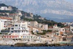Marseille coastline. Coastline of marseille, shot from a tourist cruise boat stock photo