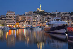 Marseille - French Riviera - South of France. The Vieux Port area of Marseille in the Cote dAzur region of the South of France. Looking towards the Cathedral de Stock Photography