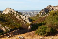 Marseille in the distance, View from the Calanque National Park stock images