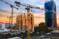 Marseille. Early in the morning on the construction of a residential house. Sunrise. stock image