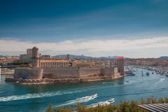 Marseille. Famous place Vieux Port in summer day in Marseille, France Royalty Free Stock Photo