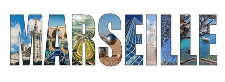 Marseille city title letters composite image stock image