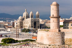 Marseille fortress and Cathedral Royalty Free Stock Photos