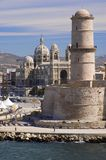Marseille fortress and Cathedral Stock Photo
