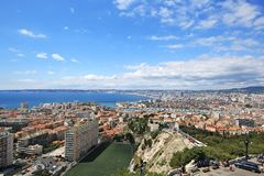 Marseille, France : Aerial View of Marseille City. Background royalty free stock photos