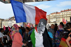 Marseille, France - August 9, 2014: Protester gather during à demonstration. Protesters in Marseille, southern France on August 9, 2014 during a demonstration stock image