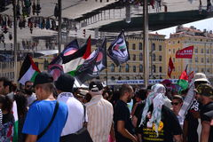 Marseille, France - August 9, 2014: Protester gather during a demonstration. Protesters in Marseille, southern France on August 9, 2014 during a demonstration royalty free stock images
