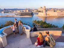 Saint Jean Castle and Cathedral de la Major and the Vieux port i Stock Photography