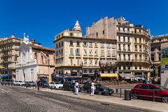 Marseille, France. Belgian embankment on the left facade of the church of Saint-Ferreol les Augustins stock image
