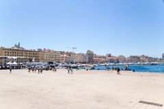 Marseille, France. Berths in the Belgian waterfront in the Old Port stock image