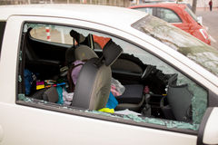 MARSEILLE / FRANCE - 03 20 2017 Car glass is brocken Royalty Free Stock Photos
