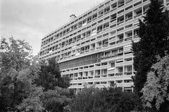 Unite d Habitation in Marseille black and white. MARSEILLE, FRANCE - CIRCA MAY 1995: Unite d Habitation (meaning Housing) Unit modernist rationalist housing stock image