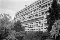Unite d Habitation in Marseille black and white. MARSEILLE, FRANCE - CIRCA MAY 1995: Unite d Habitation meaning Housing Unit is a modernist residential housing royalty free stock image